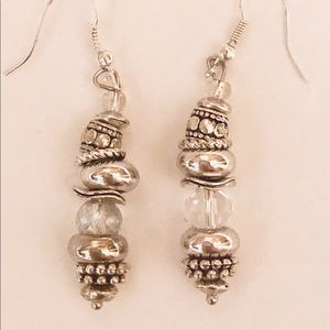 Stacked Randel Earrings, Randel silver w/ Crystals